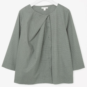 COS Draped Neck Printed Shirt in Jade Green
